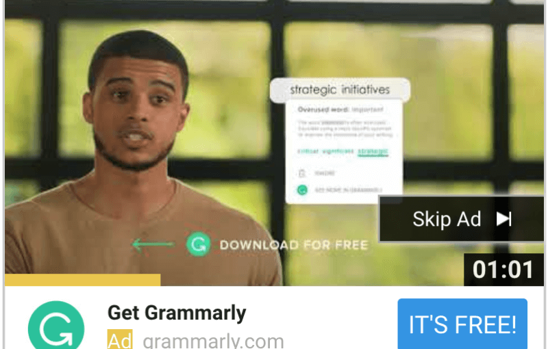 Grammarly tops YouTube's TrueView for Action 2018 leaderboard – Marketing Land